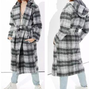 American Eagle Wool Plaid Hooded Trench Coat